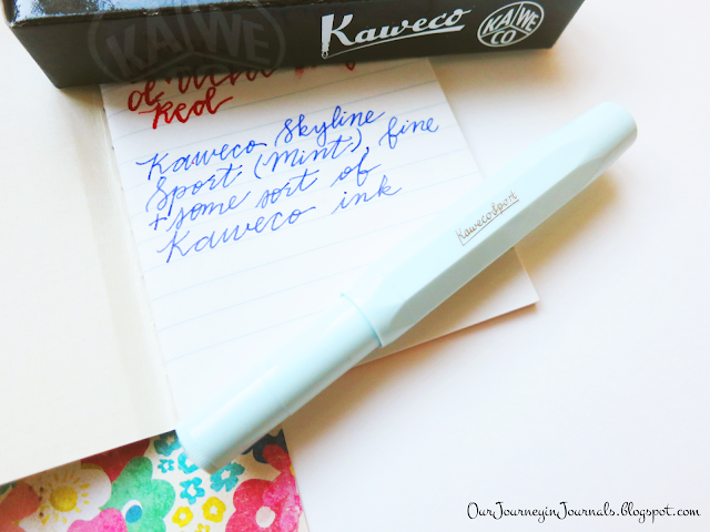 kaweco skyline sport fountain pen in mint with fine nib