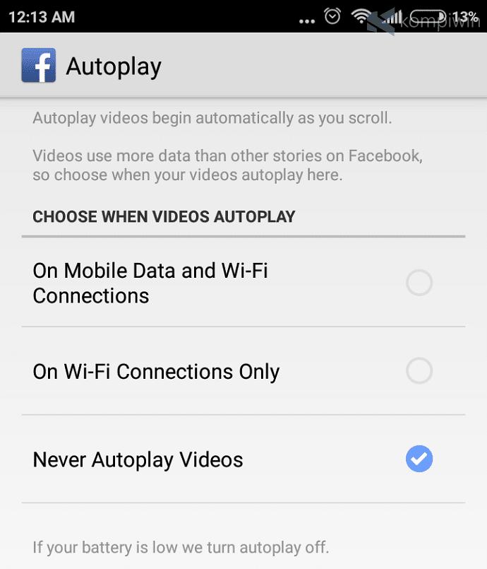 video autoplay facebook wifi data selular