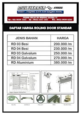 gambar daftar harga rolling door standart bandung murah
