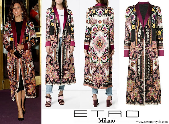 Crown Princess Mary wore ETRO Reversible Robe Coat