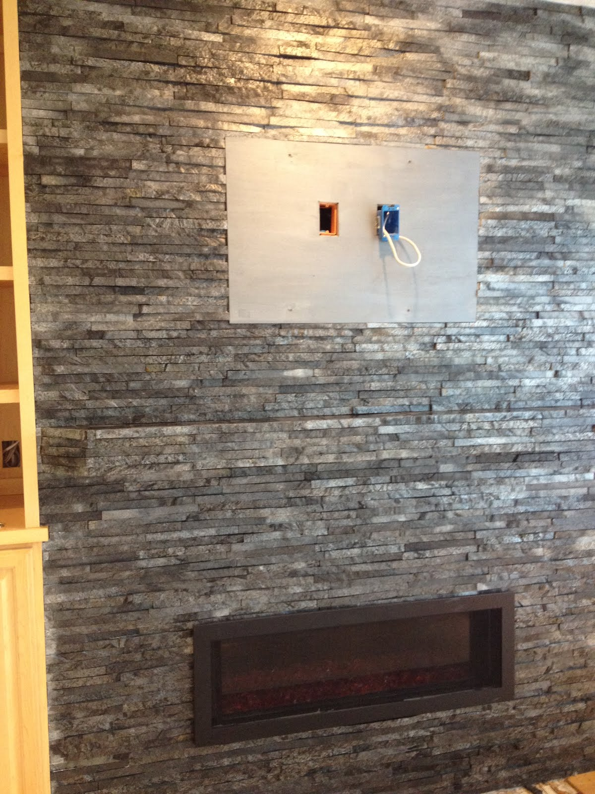 Cultured Stone Fireplace With Black Slate Hearth