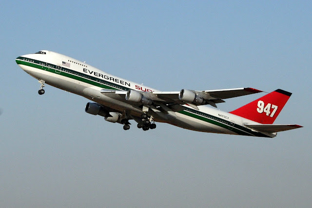 Evergreen 747 Supertanker departs Ben Gurion Airport, Israel, (2007)