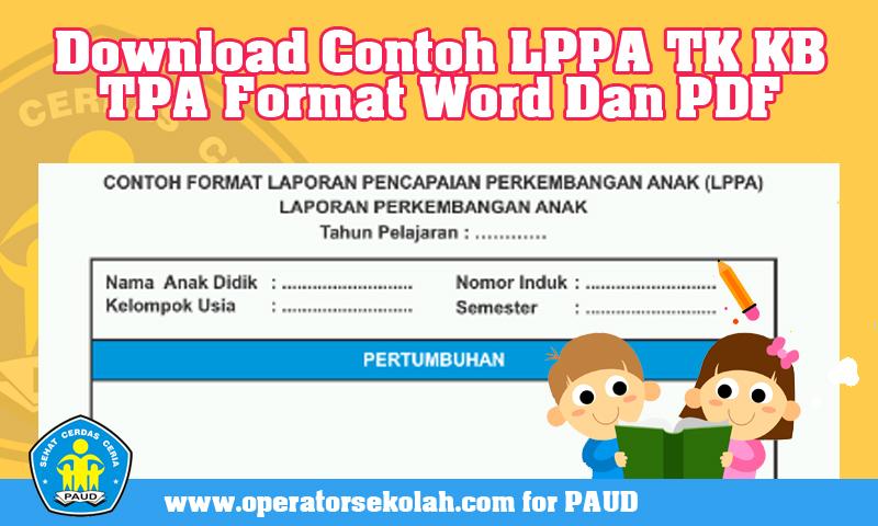 Download Contoh LPPA (Laporan Perkembangan Anak) TK KB TPA Format Word Dan PDF