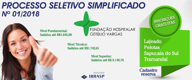 Fundação Hospitalar Getúlio Vargas abre Processo seletivo FHGV 2018
