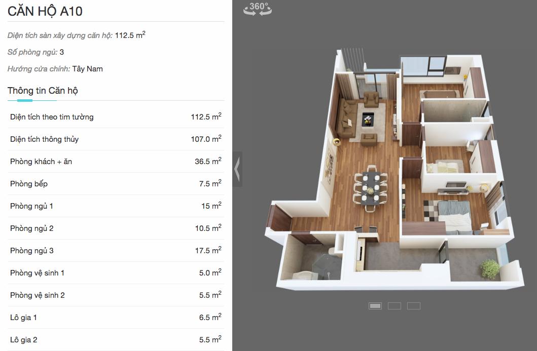 Thiết kế chi tiết căn A10 chung cư The Legend