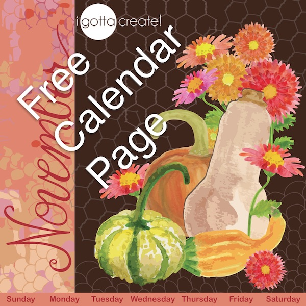 Free printable November calendar page features gouache hand-painted flowers, squash and gourds | Visit I Gotta Create!