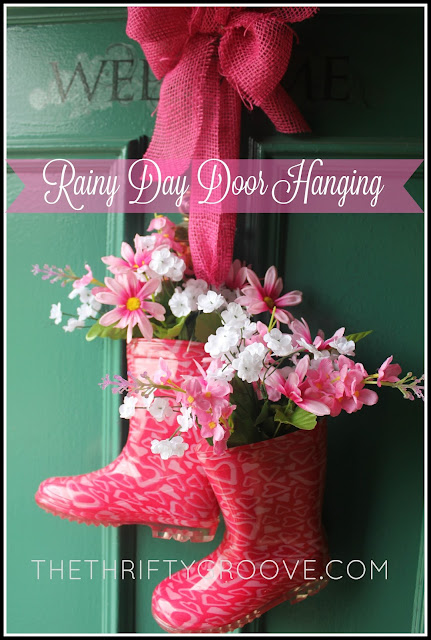Easy DIY Rainy Day Door Hanging How to at thethriftygroove.com
