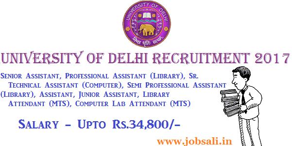 vacancy in delhi university colleges, Non teaching jobs in Delhi, Govt jobs in Delhi