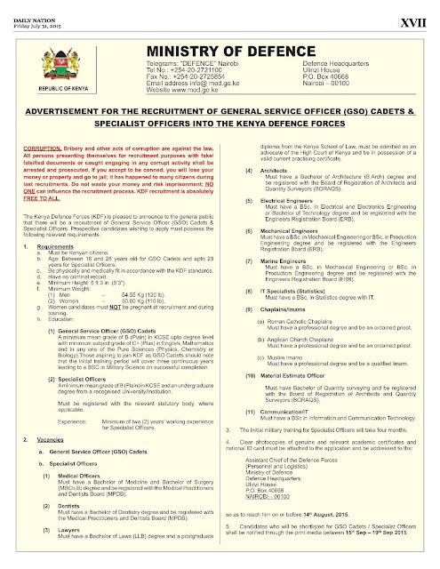 KDF Recruitment 2017 \u2013 Kenya Defence Forces Training college Degree - college loan interest calculator