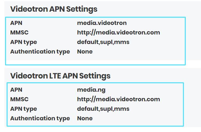 New VideoTron APN Settings