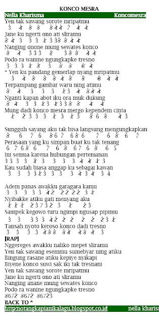 Not Angka Lagu Nella Kharisma Konco Mesra