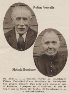 Dhr. Petrus Vervalle en Mevr. Sidonia Bouttens uit Wevelgem brachten 15 kinderen groot.
