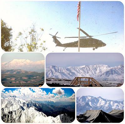 A collage from Herat, Hindu Kusch Mountains, Kunduz, and FOB Shank