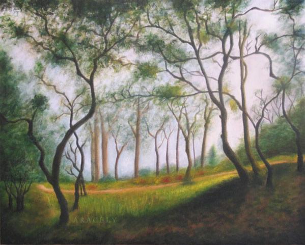 paisaje pintura oleo arboles bosque