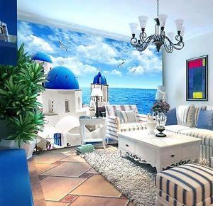Wallpaper Dinding Mural Ruang Tamu Motif Nuansa Laut Dan Pantai