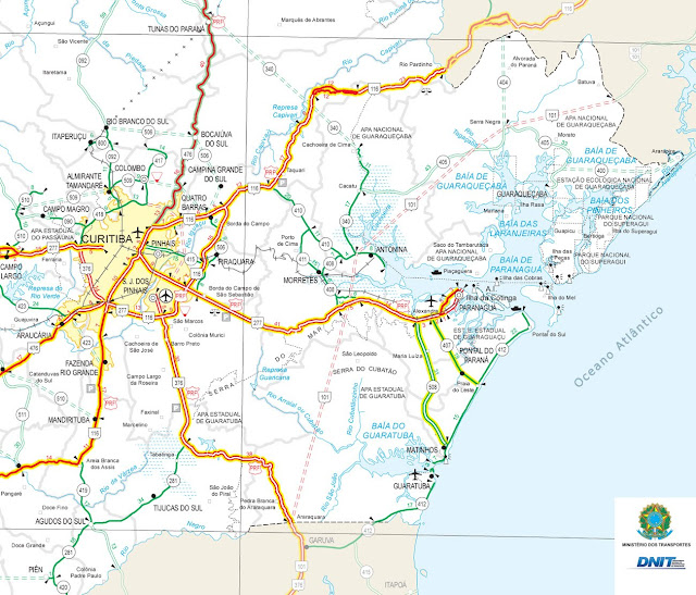 Mapa rodoviário da região de Curitiba