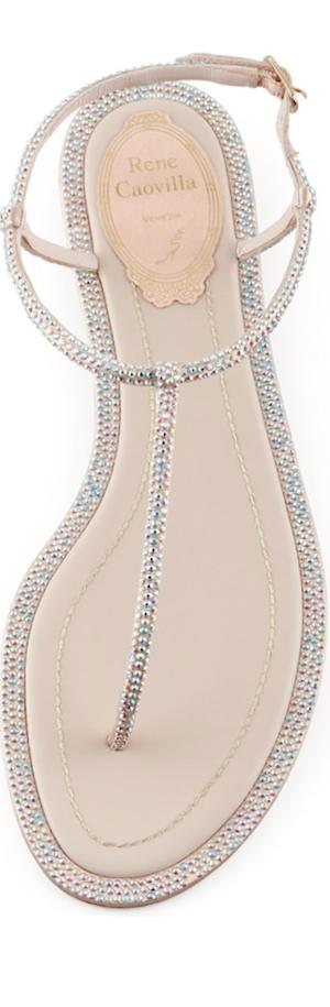 Rene Caovilla Crystal Flat Thong Sandal
