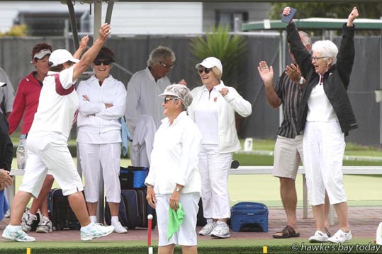 Left: Louise Fitness, Bowls Taradale, and her team, winners of the North Island Chartered Clubs Women's Fours Bowls, at Bowls Taradale, Taradale, Napier. photograph