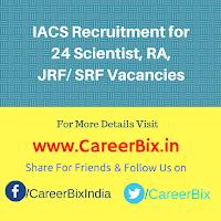 IACS Recruitment for 24 Scientist, RA, JRF/ SRF Vacancies