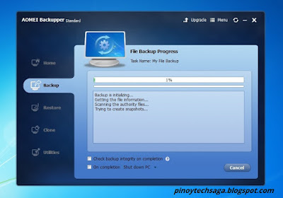 File Backup progress initialization.