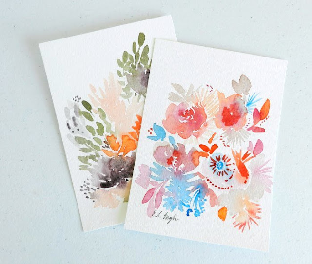 Original Sea-Inspired Watercolor Flower Paintings by Elise Engh