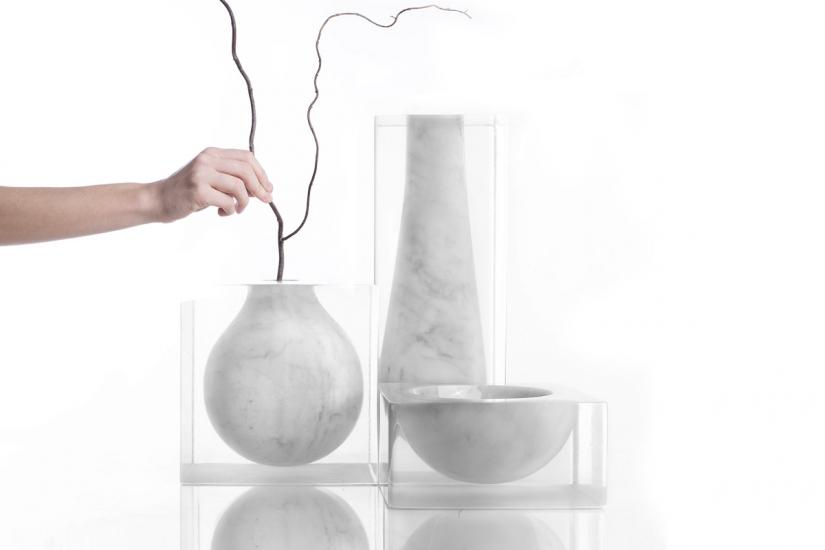marble resin vases