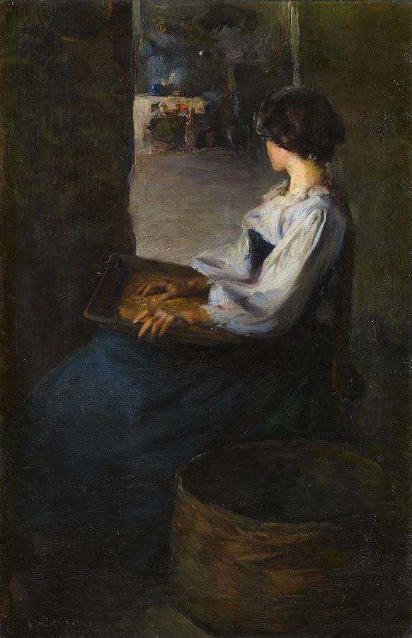 Mujer bretona, Enrique Martínez Cubells, Pintor español, Pintores españoles, Martínez Cubells, Paisajes de Enrique Martínez Cubells, Pintores Valencianos