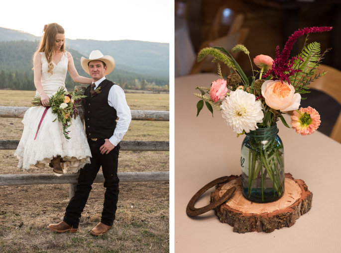 Montana Bride + Groom / Centerpiece / Horseshoe / Cali Frankovic Photography
