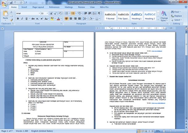 Contoh Soal PTS Kelas 6 SD Semester 2 Kurikulum 2013 Revisi 2018-2019