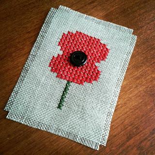 free ANZAC poppy cross stitch chart by homestitchness