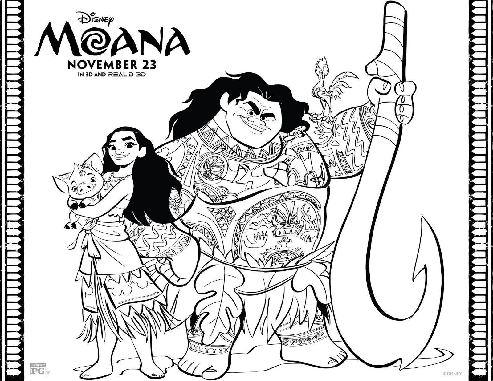 Moana activity coloring sheets disney promo babushka for Activity coloring pages