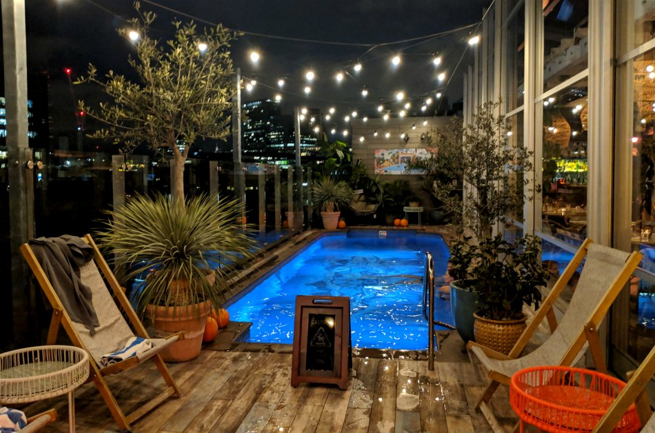 The Curtain Hotel Shoreditch rooftop pool at night