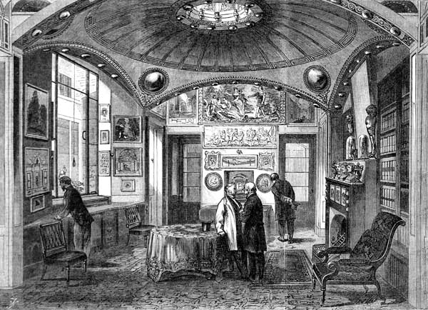 Drawing of breakfast room at Soane's house in the 1800s, with walls covered in paintings and antiquities