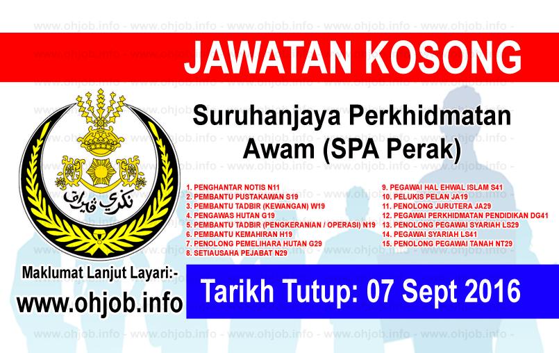 Jawatan Kerja Kosong Suruhanjaya Perkhidmatan Awam (SPA Perak) logo www.ohjob.info september 2016