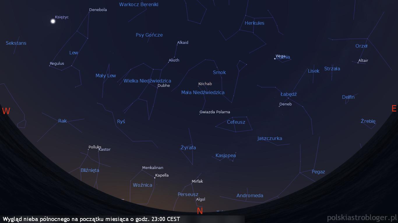 Wygląd nieba północnego na początku miesiąca o godz. 23:00 CEST