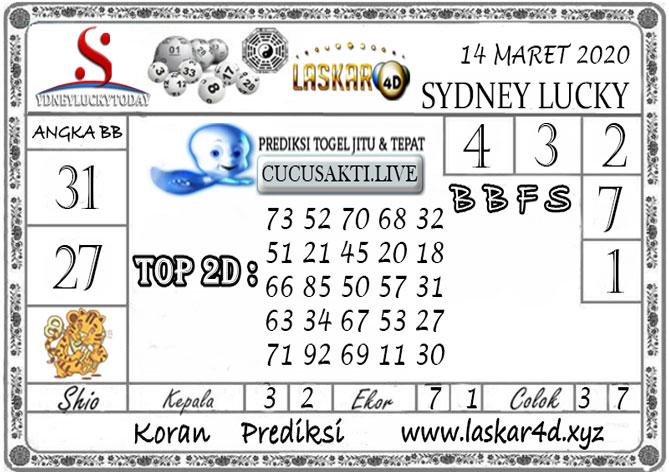 Prediksi Sydney Lucky Today LASKAR4D 14 MARET 2020