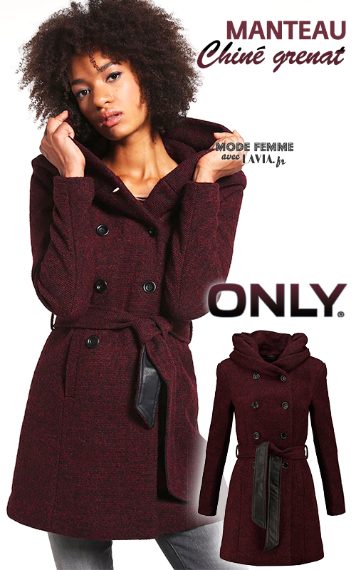 Manteau femme chiné bordeaux ONLY