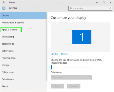 pengaturan aplikasi Windows 10