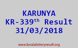 KARUNYA Lottery KR 339 Results 31-03-2018