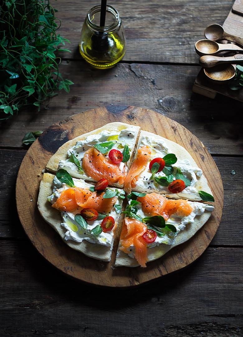 Pizza con Salmón y Verdolaga de Rusttica.com