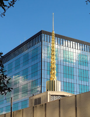 Iconic golden spike in lieu of spire at First Church of Christ Scientist Church in Downtown Houston