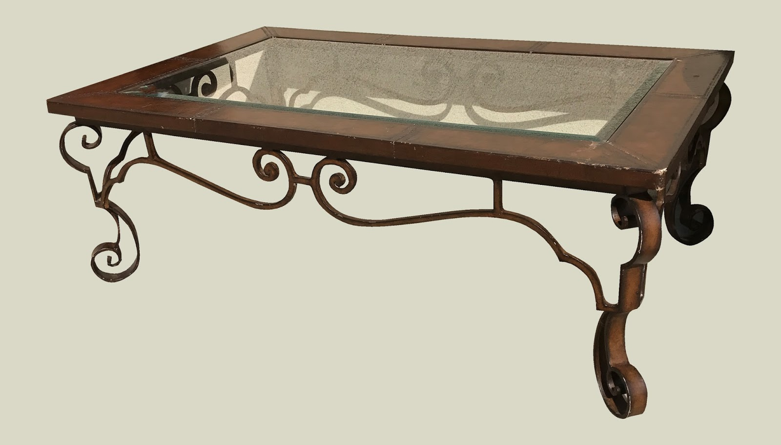 Uhuru Furniture Collectibles Cast Iron Coffee Table With Glass Top Leather Trim 125 Sold