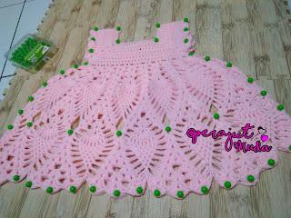 Blocking Rajutan, Blocking pada Rajutan, Crochet Blocking, How to Crochet Blocking, Cara blocking rajutan, blocking adalah, cara blocking dress bayi, belajar merajut