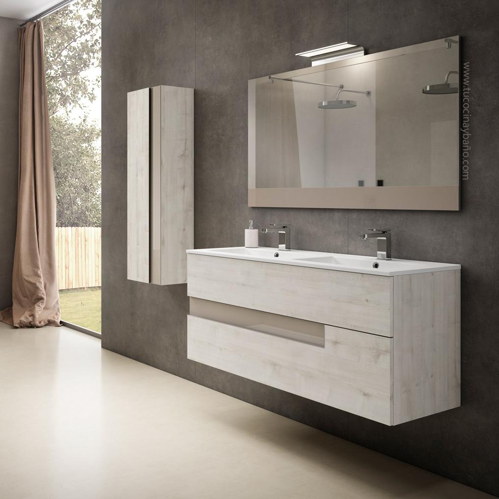 precio mueble baño suspendido madera cajon
