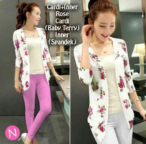 Jual Outer / Cardigan / Knit 2 In 1 Cardigan Roses - 12756