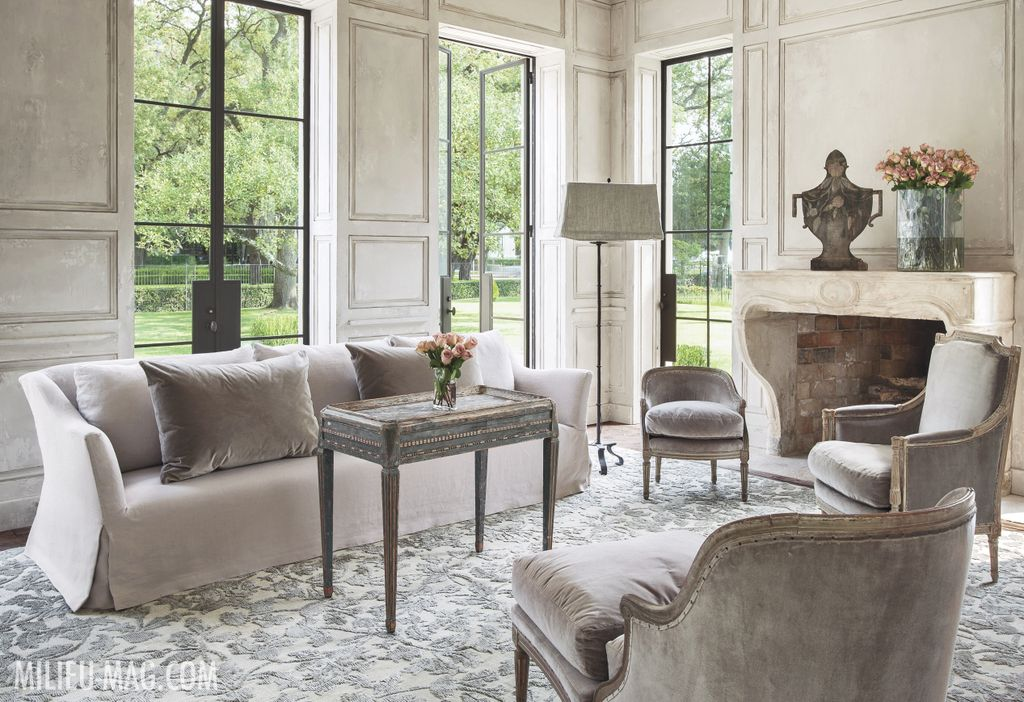 Luxurious and timeless neutral living room by Pamela Pierce in Milieu magazine