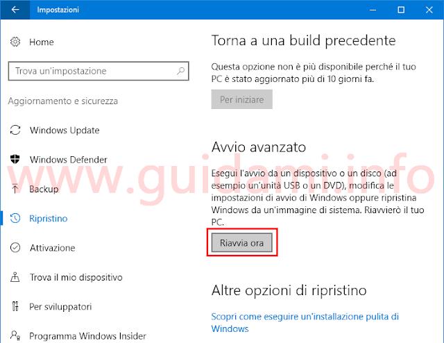 Opzione Avvio avanzato da Impostazioni Windows 10