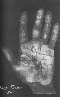 Hand Print of Mark Twain Palmistry