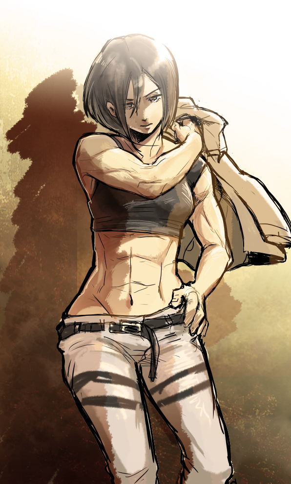 mikasa taking off jacke showing off muscles