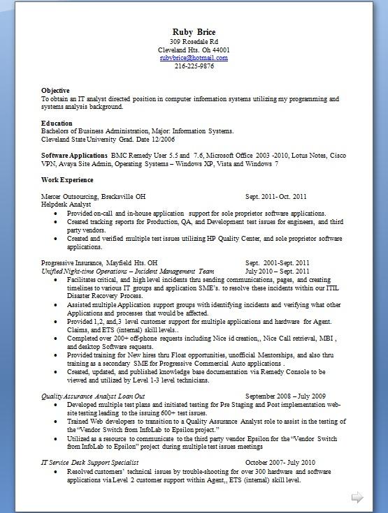 Help Desk Analyst Resume Creator In Word Format Free Download